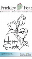 Easter Flowers - Red Rubber Stamp