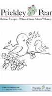 Singing Bluebirds - Red Rubber Stamp