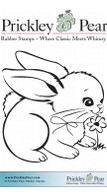 Bunny with Daisy - Red Rubber Stamp