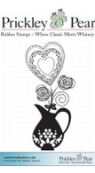 Vase with Heart, Sm. - Red Rubber Stamp