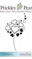Heart Dandelion - Red Rubber Stamp