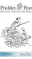 Nesting Finches - Red Rubber Stamp