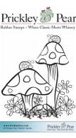 Ladybug & Mushrooms, Sm. - Red Rubber Stamp