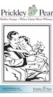 Vintage Girl & Dad - Red Rubber Stamp