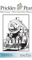 Vintage Train ATC - Red Rubber Stamp