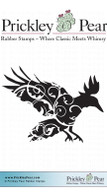 Flourished Raven - Red Rubber Stamp