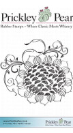 Sunflower with Vines - Red Rubber Stamp