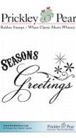 Seasons Greetings - Red Rubber Stamp