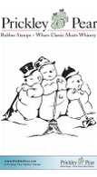 Three Snowmen Standing - Red Rubber Stamp