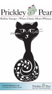 Funky Cat - Red Rubber Stamp