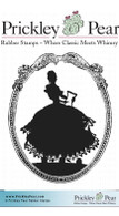 Silhouetted Figurine - Red Rubber Stamp