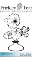 Flowers in Vase - Red Rubber Stamp