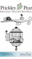 Flourished Bird Cage - Red Rubber Stamp
