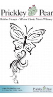 Butterfly with Flourish Trail - Red Rubber Stamp