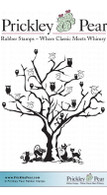 Cat & Owl Tree - Red Rubber Stamp