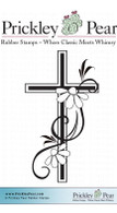 Cross with Black Eye Susans - Red Rubber Stamp