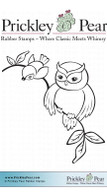 Owl with Bird - Red Rubber Stamp