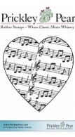 Music Heart - Red Rubber Stamp