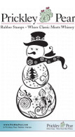 Snow Globe Snowman - Red Rubber Stamp