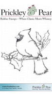 Cardinal with Holly - Red Rubber Stamp