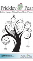 Whimsical Webbed Tree - Red Rubber Stamp