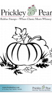 Pumpkin in Grass - Red Rubber Stamp
