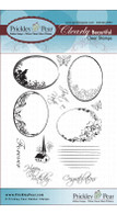Scalloped Oval 4-Floral - Clear Stamp Set