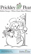 Snowman with Lantern, Sm. - Red Rubber Stamp