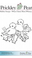 Two Birds with Holly, Sm. - Red Rubber Stamp