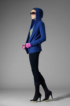 Hooded Cobalt Silk and Cotton-blend Cardigan