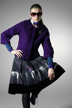 Indigo Peplum Wool Jacket