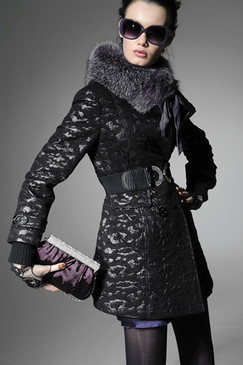 Charcoal Quilted Coat with Fur Trim