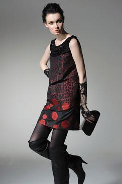 Embellished Cotton Silk Blend Shift Dress