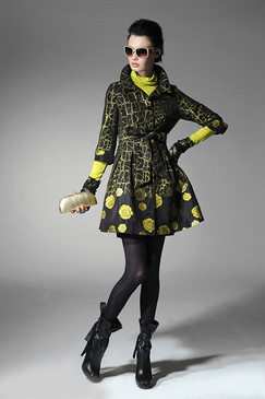 Neon Printed Taffeta Dress Coat