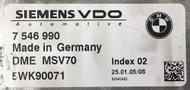 BMW, DME MSV70, 7546990, 7 546 990, 5WK90071, Index 02