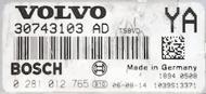 Volvo S80/V70/XC60/XC70, 0281012765, 0 281 012 765, 30785100AD, 30785100 AD, YA