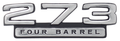 "Emblem Fender 66-67 Dart ""273 Four Barrel"""