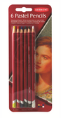 Derwent Pastel Pencils - Assorted Colours - Card of 6