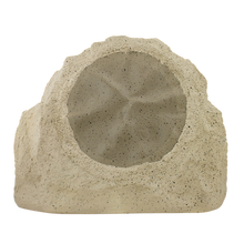 "2 way outdoor rock-shaped speaker, 8"" poly woofer, 1"" titanium tweeter, tan. 5 - 150 watts, 8 ohms."