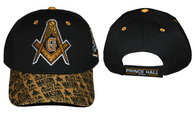 Prince Hall Mason Masonic Detailed Bill Hat- Black/Gold