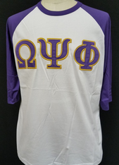 Omega Psi Phi Fraternity Baseball Shirt-White