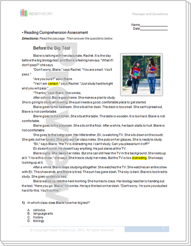 Printables Read Theory Grade 7 Answer Key before the big test 4g 570l read theory workbooks image 1