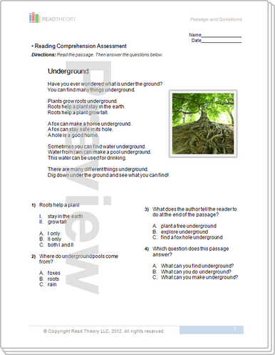 Worksheets Read Theory Llc underground 2g 260l read theory workbooks image 1