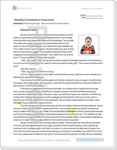 Worksheets Read Theory Llc daveys lunch 8g 740l read theory workbooks image 1