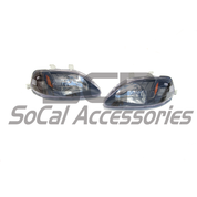 99-00 CIVIC HEADLIGHTS BLACK/ AMBER