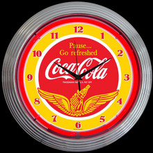 COCA-COLA® WINGS NEON CLOCK