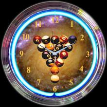 BILLIARDS SPACEBALLS NEON CLOCK