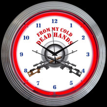 FROM MY COLD DEAD HANDS FIREARMS NEON CLOCK