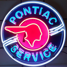 PONTIAC SERVICE NEON SIGN WITH SILKSCREEN BACKING