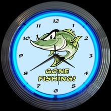 GONE FISHING NEON CLOCK